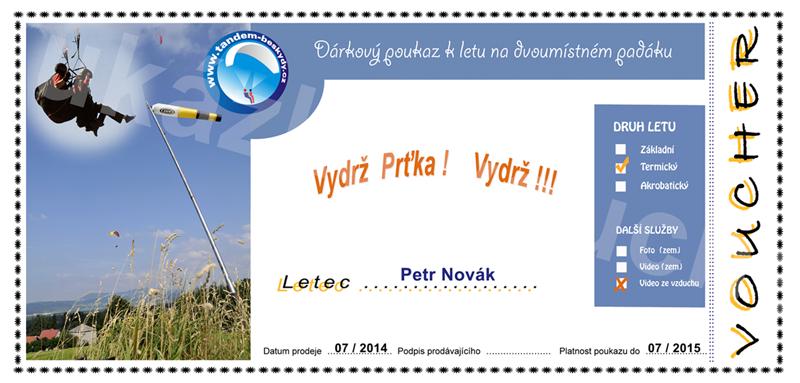 Ukázka dárkového poukazu pro paragliding
